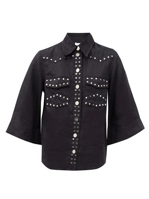 Ganni Flared-sleeve Studded Linen Shirt In Black