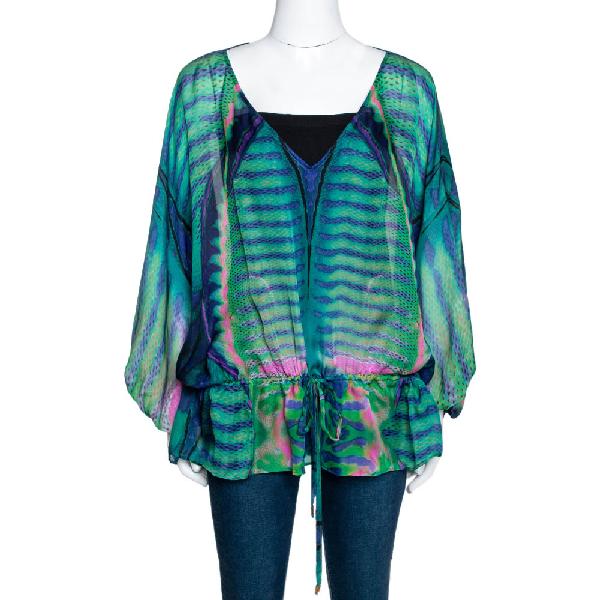 Roberto Cavalli Multicolor Peacock Printed Silk Sheer Tunic Top L