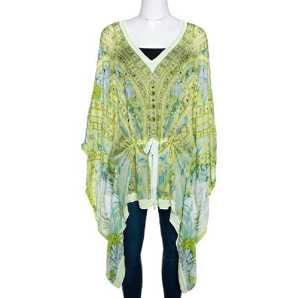 Roberto Cavalli Green Printed Silk Contrast Knit Trim Kaftan Top L