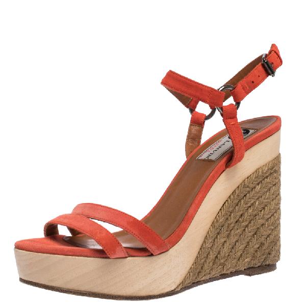 Lanvin Red Suede Espadrille Wedge Platform Ankle Strap Sandals Size 37.5