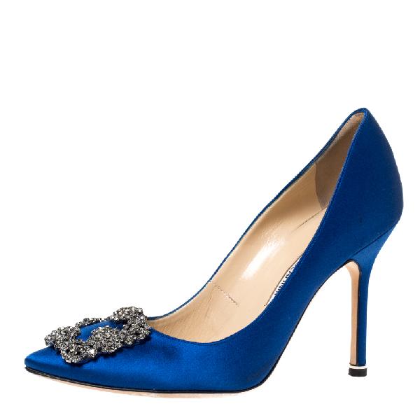 Manolo Blahnik Blue Satin Hangisi Crystal Embellished Pumps Size 36
