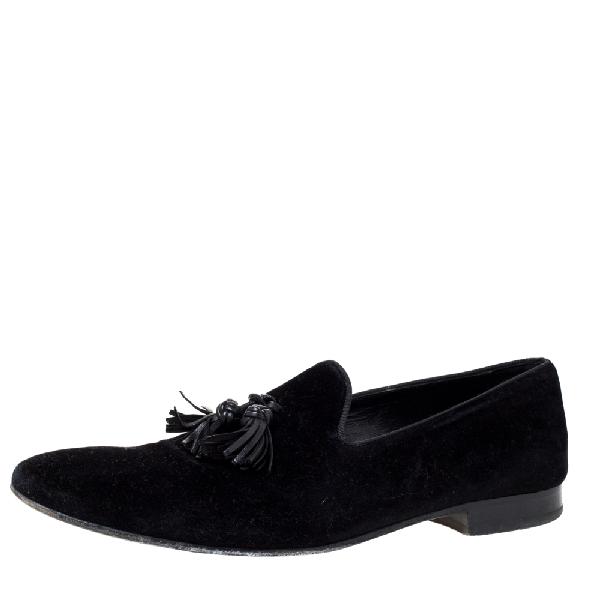 Burberry Black Velvet Lewis Tassel Loafers Size 44.5