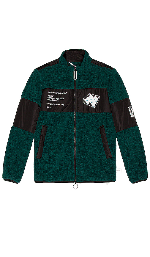 Off-white Green And Black Printed Fleece Jacket