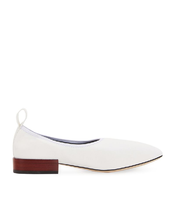 Loewe 20mm Leather Ballerinas In White