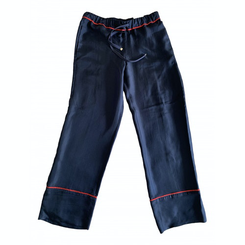 Moncler Blue Silk Trousers