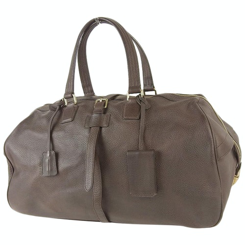 Jil Sander Brown Leather Travel Bag