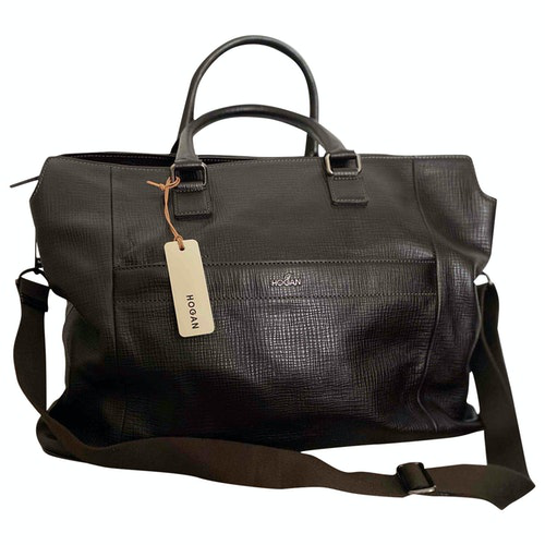 Hogan Brown Leather Travel Bag