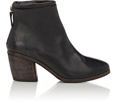 MarsÈLl Black Deer Leather Ankle Boot In Black Speckled