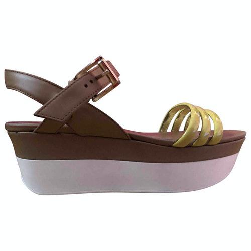 Hogan Brown Leather Sandals