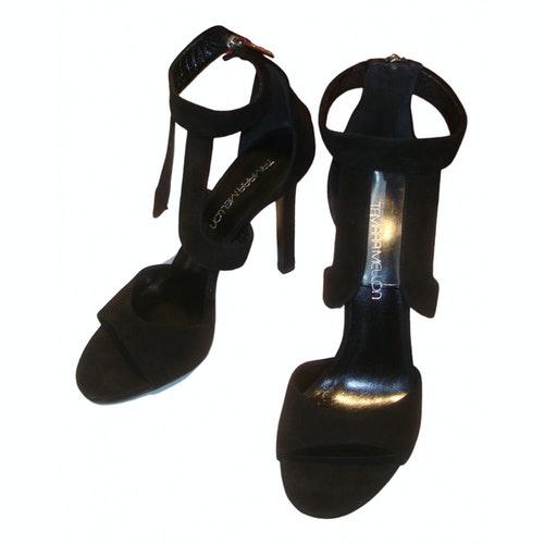 Tamara Mellon Black Suede Sandals