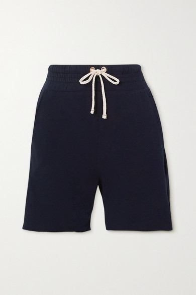 Les Tien Yacht Frayed Cotton-jersey Shorts In Navy