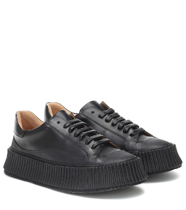 Jil Sander Vulcanized Rubber Sole Sneakers In Black