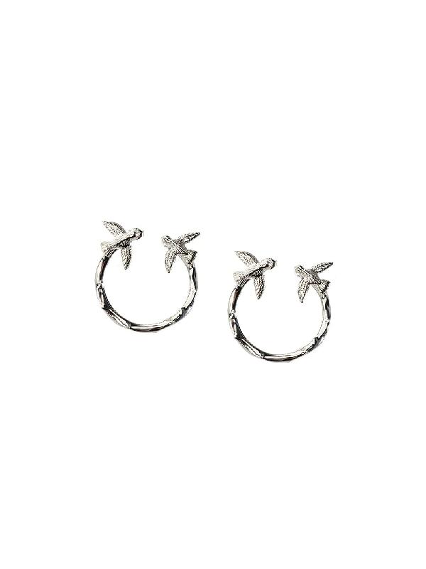 Pinko Swallow Hoop Earring In Silver