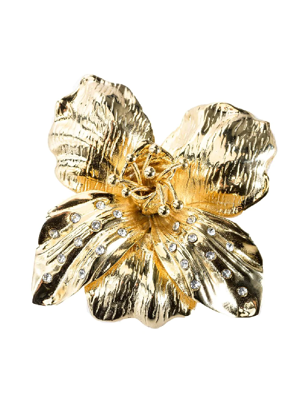 Pinko Crystal-embellished Flower Brooche In Gold