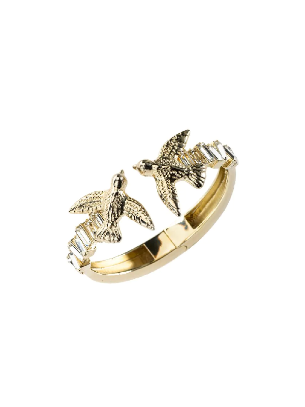 Pinko Swallow Crystal Bracelet In Gold