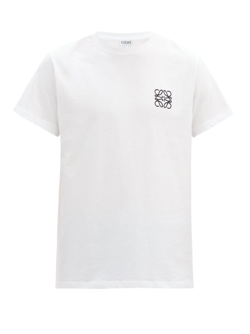 Loewe Logo-embroidered Cotton-jersey T-shirt In White