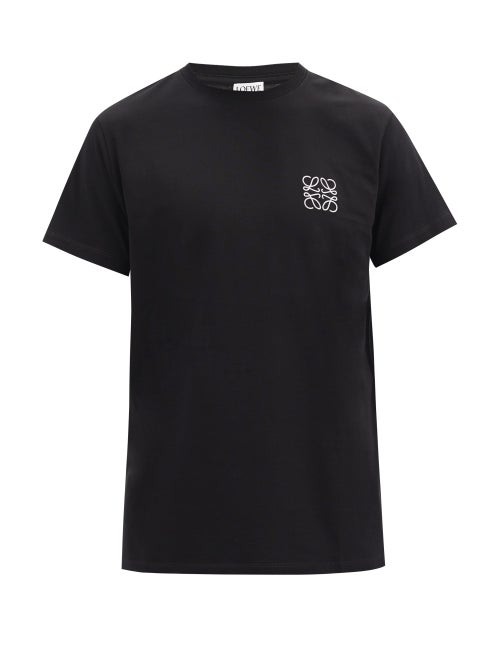 Loewe Anagram Embroidery Cotton Jersey T-shirt In Black