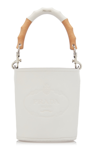 Prada Leather Embossed Tambour Bucket Bag In White