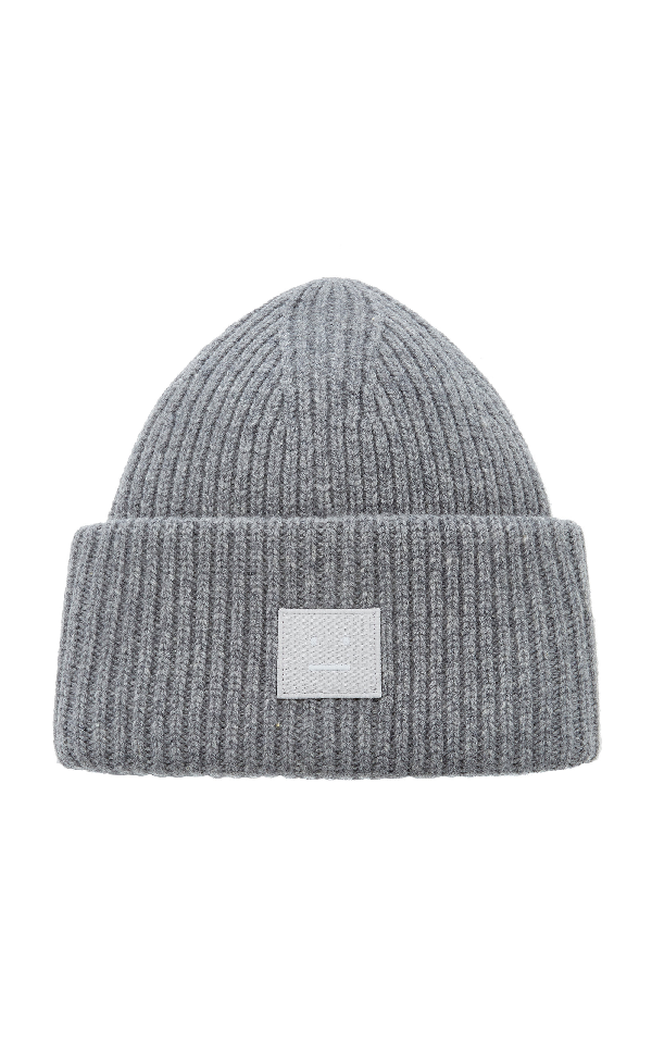 Acne Studios Pansy N Face Appliquã©d Wool Beanie In Grey