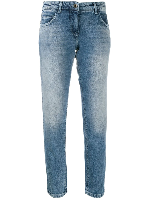 Patrizia Pepe Stonewashed Straight Jeans In Blue