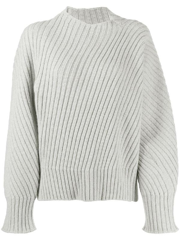 Jil Sander Chunky Knit Oversized Wool Jumper In Grey