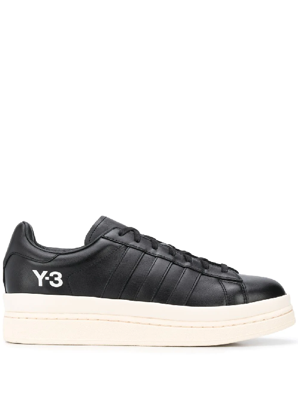 Y-3 Black Hicho Platform Sole Leather Sneakers