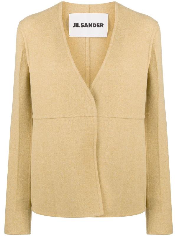 Jil Sander Vigin Wool Linear Jacket In Yellow