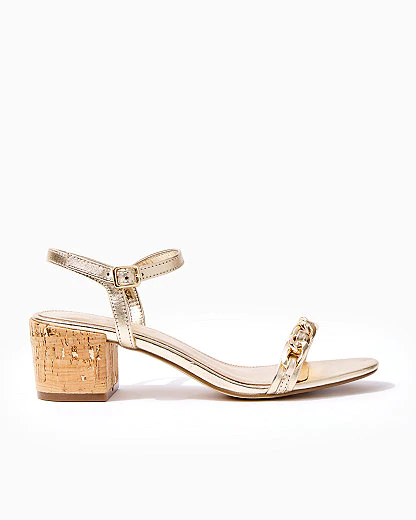 Lilly Pulitzer Marcia Block Heel Sandal In Gold Metallic