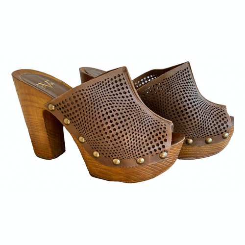 Versace Brown Leather Mules & Clogs