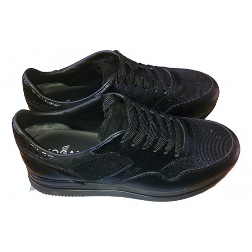 Hogan Black Leather Trainers
