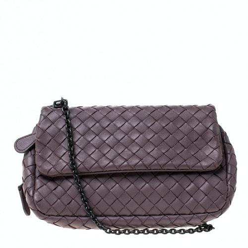 Bottega Veneta Purple Leather Handbag