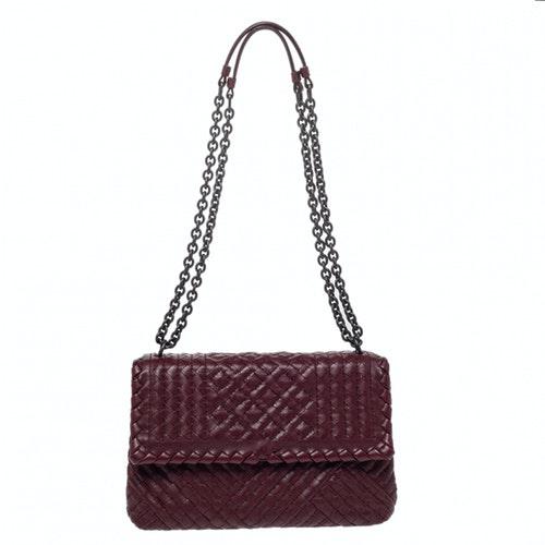 Bottega Veneta Olimpia Burgundy Leather Handbag