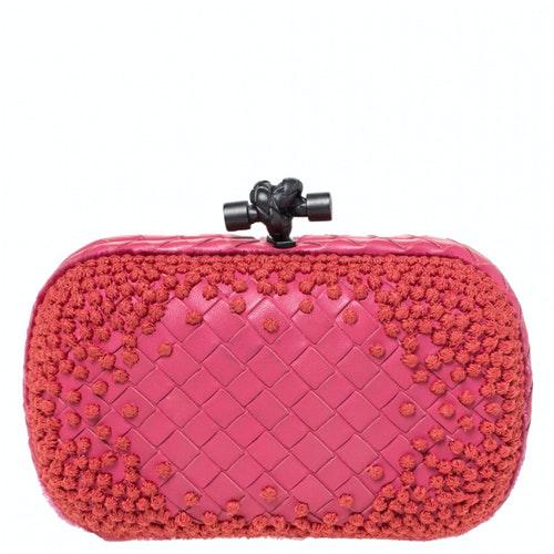 Bottega Veneta Pochette Knot Pink Leather Clutch Bag