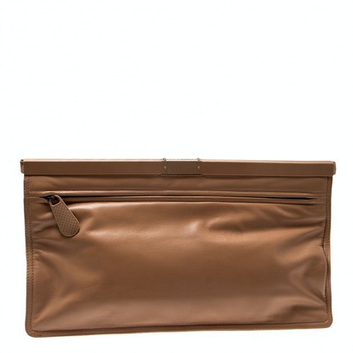 Bottega Veneta Beige Leather Clutch Bag