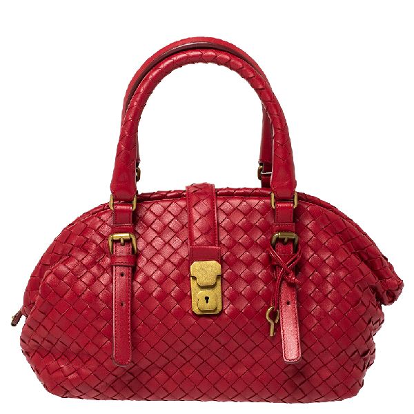 Bottega Veneta Red Intrecciato Leather Satchel