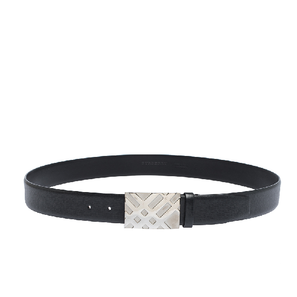 Burberry Black Leather Dean Buckle Belt 105cm