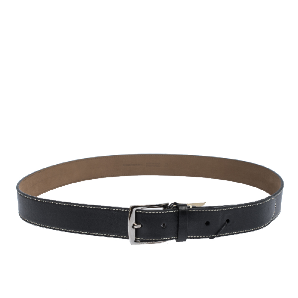Burberry Black Leather Gray35 Buckle Belt 110cm