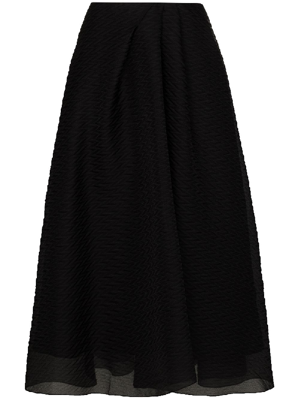 Roland Mouret Mulligan Layered Silk Midi Skirt In Black