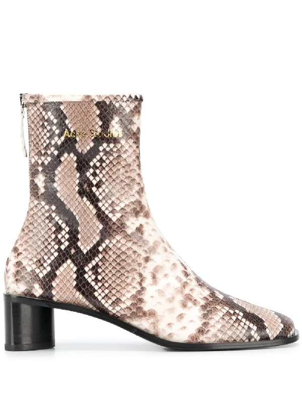 Acne Studios Bertine Logo Snake-effect Leather Boots In Neutrals