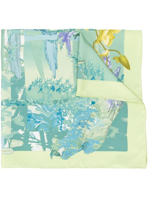 Salvatore Ferragamo Floral Print Scarf In Green