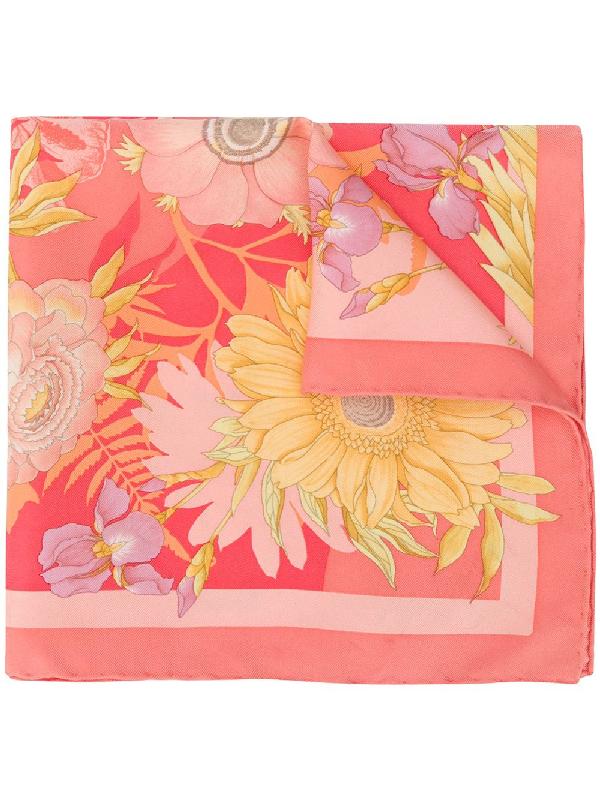 Salvatore Ferragamo Floral Print Scarf In Pink