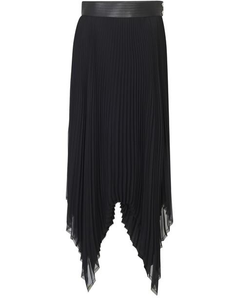 Loewe Asymmetric Pleated Skirt Leather Trim In Black