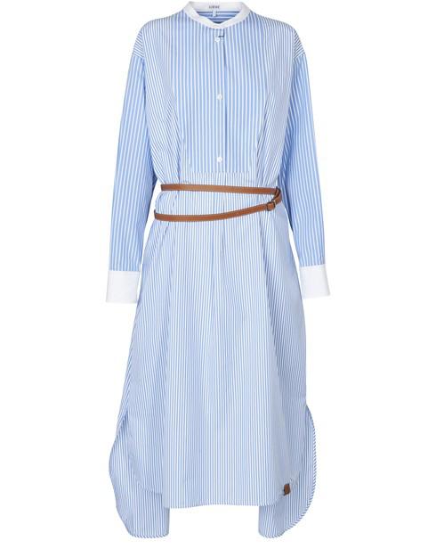 Loewe Striped Belted Cotton-poplin Shirt Dress In Blue
