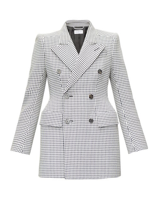 Balenciaga Hourglass Double-breasted Houndstooth Wool-blend Blazer In Black