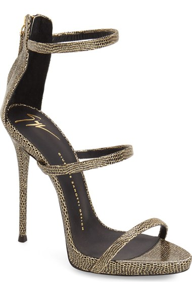 41f5dce70f10d Giuseppe Zanotti Coline Glitter Embossed Triple Strap High Heel Sandals In  Gold Leather