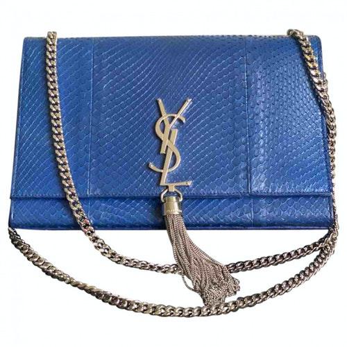 Saint Laurent Pompom Kate Blue Python Handbag