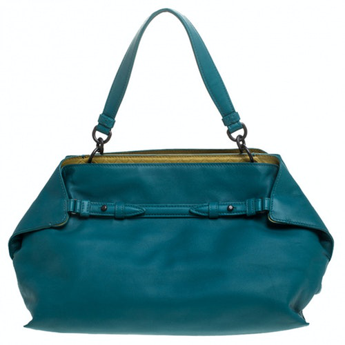 Bottega Veneta Blue Leather Handbag