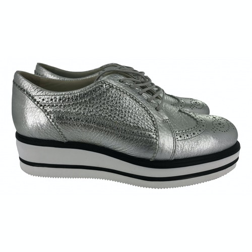 Hogan Silver Leather Lace Ups