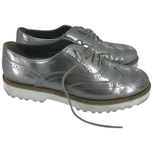 Hogan Silver Leather Flats