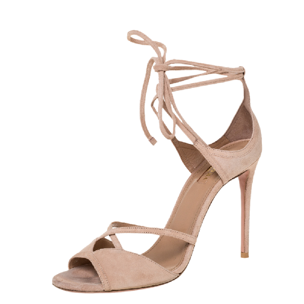 Aquazzura Powder Pink Suede Nathalie Ankle Wrap Sandals Size 39